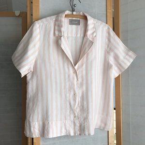Sz 8 Everlane linen notch blouse pink white stripe